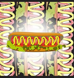 hot dog sausage tomatoes salad ketchup mustard vector image