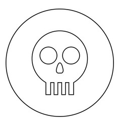 Human skull cranium icon in circle round outline vector