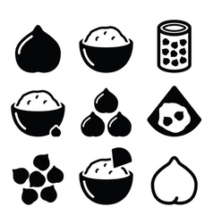 Hummus or houmous chickpeas icons set vector