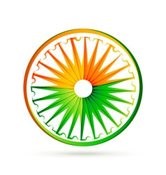 indian flag wheel design with tri colors vector image