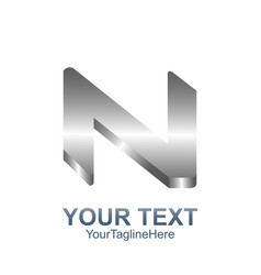 initial letter n logo template colored silver vector image