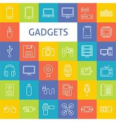 Line Art Electronic Gadgets Icons Set vector