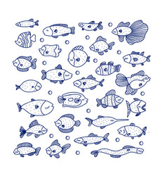 line swimming marine fish in set vector image