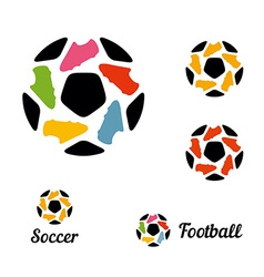 Logos soccer ball and football boots constituents vector