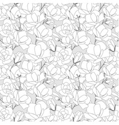 magnolia flower bloom doodle style seamless vector image