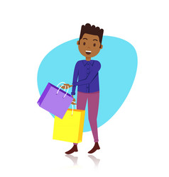 man character holding shopping purchases bag vector image