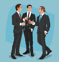 Men in business suits drink cocktails or red wine vector