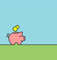 Money box piggy bank witn coins Stroke line and vector image
