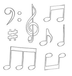 Music signs notes and symbols isolated on white vector
