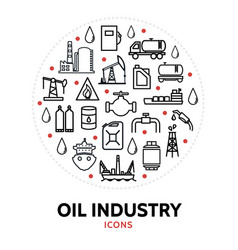 oil and gas industry round concept vector image