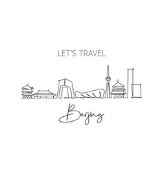 one continuous line drawing beijing city vector image