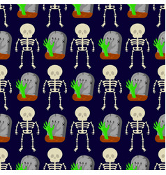 pattern with skeletons and tombstones vector image