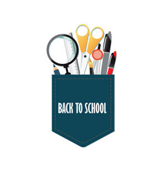 pocket of back to school conceptual with office vector image