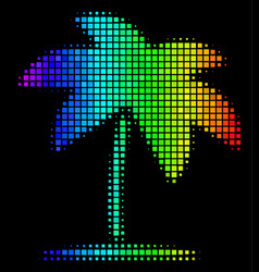 rainbow dotted island tropic palm icon vector image