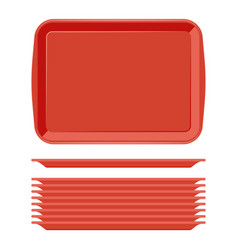 Rectangular red plastic tray salver with handles vector