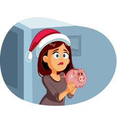 Sad broke woman having no savings for christmas vector