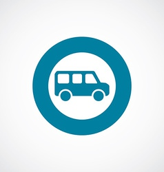 school bus icon bold blue circle border vector image