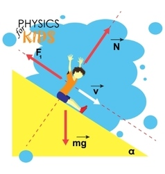 science for kids cartoon kid is studying physics vector image