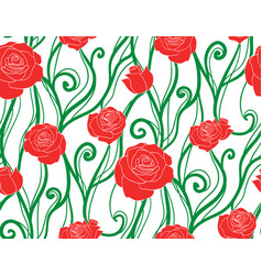 seamless texture with intertwined vines and roses vector image