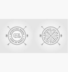 set camper car logo design template and wind vector image