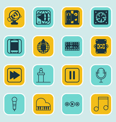 Set of 16 music icons includes following song vector