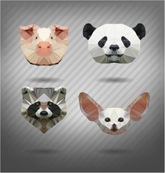 set of animals in the style of origami vector image
