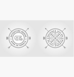 set of camper car logo design template and wind vector image