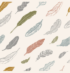 set of hand-drawing color feathers vector image