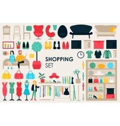 Shopping Big Collection in flat design background vector