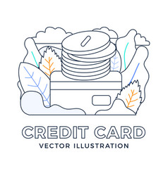 Stack coins with a credit card stock isolated vector