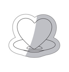 Sticker contour of healthy heart food and heart on vector
