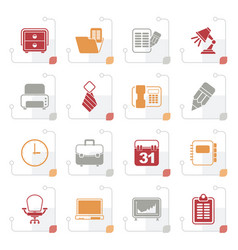 stylized business and office equipment icons vector image