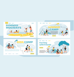 Summer holiday pastime in camp landing page set vector