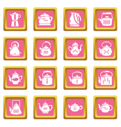 teapot icons set pink square vector image