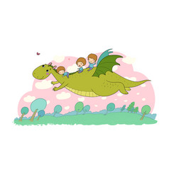 the boy and dinosaur the prince flies on a vector image