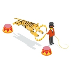 Tiger jumping through ring Flat isometric 3d vector