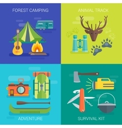 Tourist Camping Flat Compositions vector
