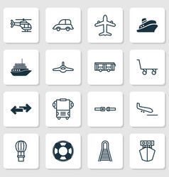 Transport icons set with combat aircraft copter vector