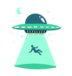 Ufo abducts human space ship ray light vector