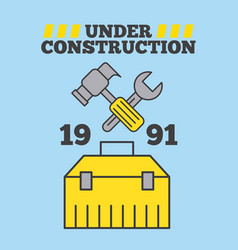 under construction hammer and spanner toolbox vector image
