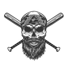 Vintage bearded and mustached bandit skull vector