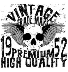 vintage skull t shirt graphic design vector image