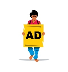 Walking Human Advertising Cartoon vector