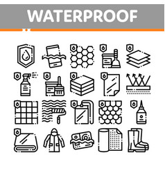 waterpromaterials thin line icons set vector image