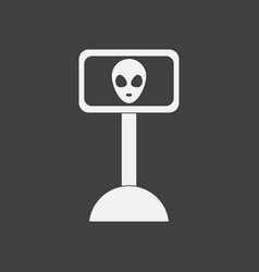 White icon on black background alien on the vector
