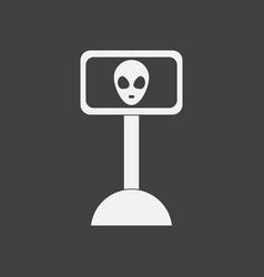White icon on black background alien vector