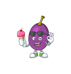 With ice cream winne fruit with mascot for vector