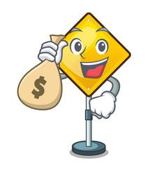 With money bag harm warning sign shaped on cartoon vector