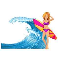 Woman and surfboard by the waves vector