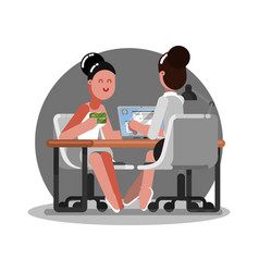Woman get the credit card in bank vector